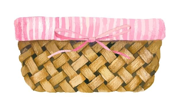 Gewebter korb mit gestreiftem futter und rosa schleife
