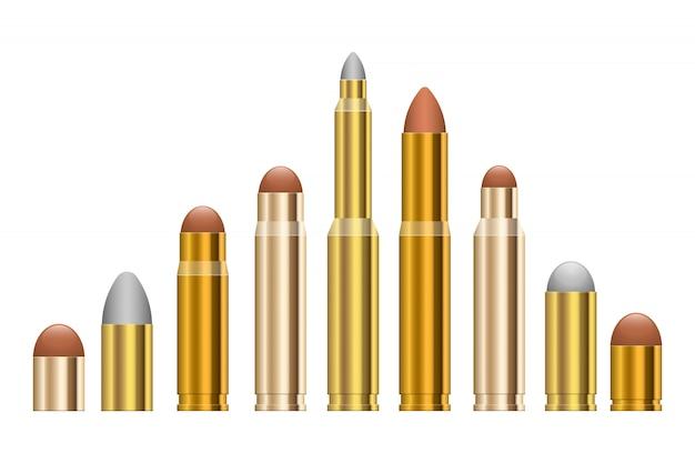 Gewehrkugel-designillustration lokalisiert auf weißem hintergrund