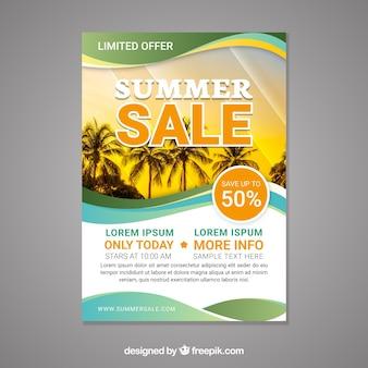 Gewellte sommerschlussverkauf-fliegerschablone mit bild