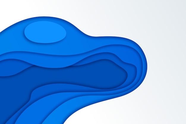 Gewellter hintergrund mit blauem farbverlauf im papierstil