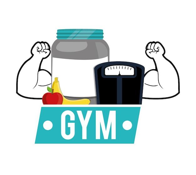 Gewicht-skala-protein-frucht der turnhalle