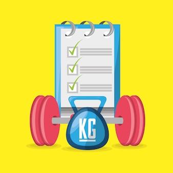 Gewichte und waage mit tipps für einen gesunden lebensstil