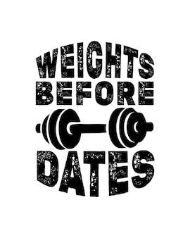 Gewichte vor daten. hand gezeichnete typografie