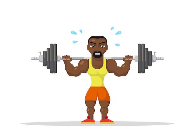 Gewichtheben athlet mit barbe am nacken zurück. fitness-workout-konzept. flaches charakter-design.