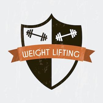 Gewichtheben unterzeichnen vorbei graue hintergrundvektorillustration