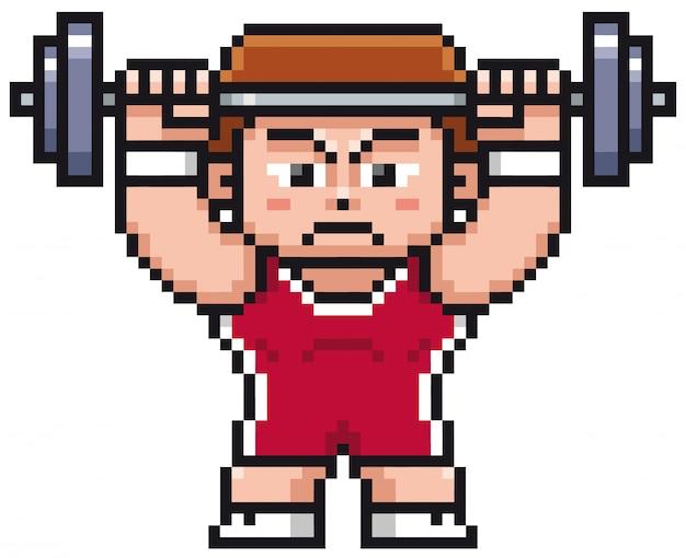 Gewichthebender spieler der karikatur - pixeldesign