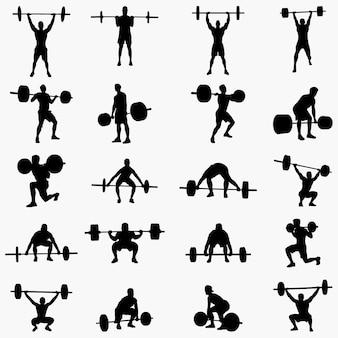 Gewichtheber silhouetten