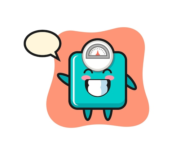Gewichtsskala-cartoon-figur, die wellenhandgeste macht, niedliches design für t-shirt, aufkleber, logo-element