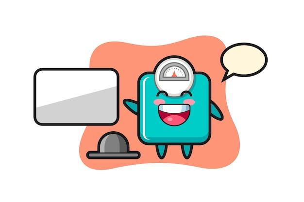 Gewichtsskala-cartoon-illustration, die eine präsentation macht, niedliches design für t-shirt, aufkleber, logo-element