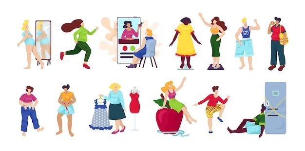 Gewichtsverlust, diät-set isoliert. übergewichtige frau werden dünner prozess. idee von fitness und gesunder ernährung. gewichtsverlust prozess. frau mit dickem bauch, person leiden unter fettleibigkeit.