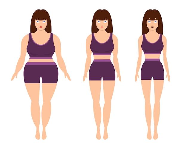 Gewichtsverlust frau lokalisiert auf weißem hintergrund