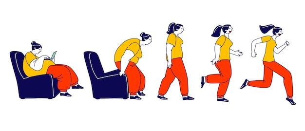 Gewichtsverlust-konzept. fetter weiblicher charakter, der aufsteht, läuft und eine dünne transformation wird. schritt für schritt wird eine fettleibige frau durch laufen zu einem gesunden körper. lineare menschen-vektor-illustration