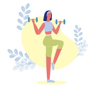 Gewichtsverlust, sporttraining-vektor-illustration Premium Vektoren