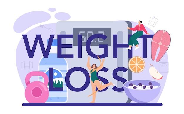 Gewichtsverlust typografischer header, der mit fitnessübungen abnimmt