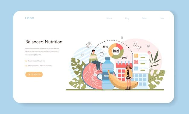 Gewichtsverlust webbanner oder zielseitenidee von fitness und gesunder ernährung