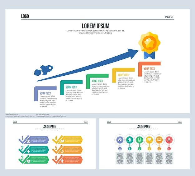Gewinn, pfeil, ziel, infografik-element, präsentationsfolie und powerpoint-vorlage festlegen