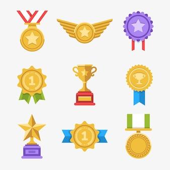 Gewinnen sie medaillen gesetzt. coole flache award-symbole.