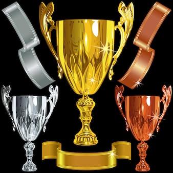 Gewinnen von gold-, silber-, bronze-pokalen und bändern