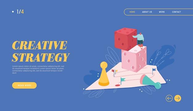 Gewinnende geschäftsmannillustration für webdesign, banner, mobile app, landingpage. strategische planung, teamwork-konzept, geschäftsrisiko. menschen charakter brettspiel spielen, die würfel werfen.