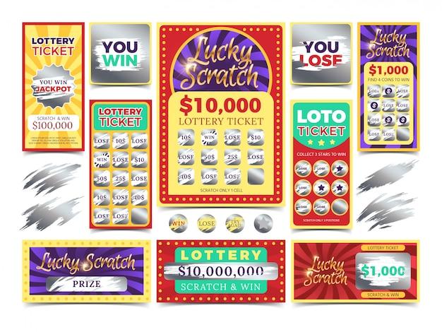 Gewinnende kratzende lottoscheine