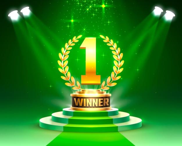 Gewinner 1 bestes podest-preisschild, goldenes objekt