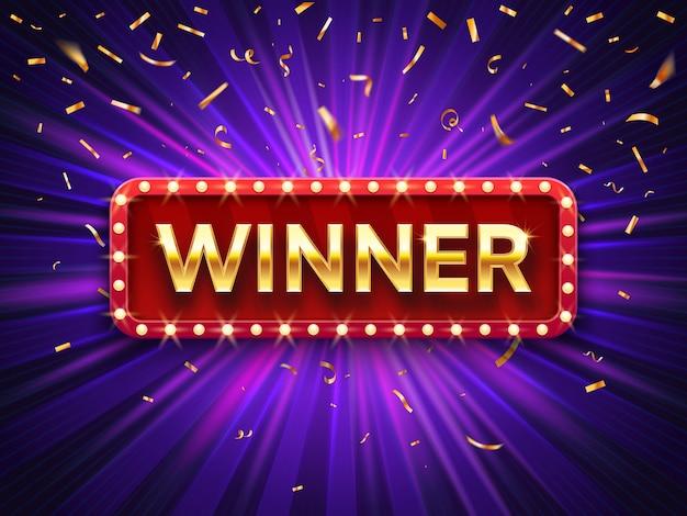 Gewinner banner. gewinnen sie glückwunsch-weinleserahmen, goldenes gratulierendes gerahmtes zeichen mit goldener konfetti-hintergrundillustration