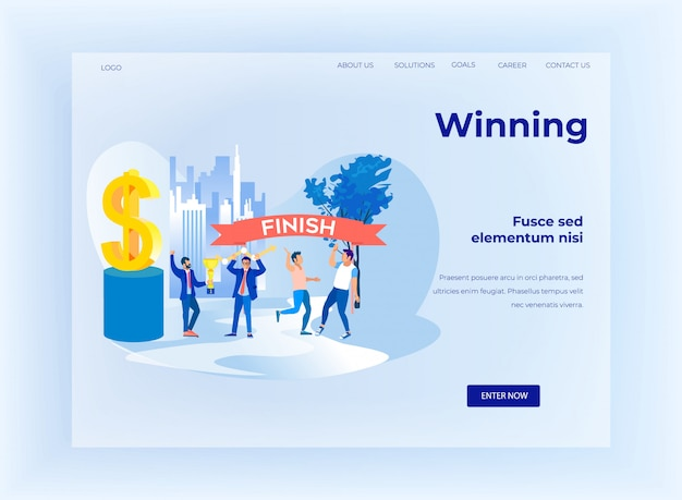 Gewinner design cartoon business flat landing page
