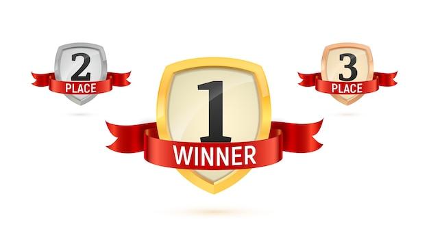 Gewinner ersten zweiten und dritten platz isolierte vektorabzeichen gesetzt