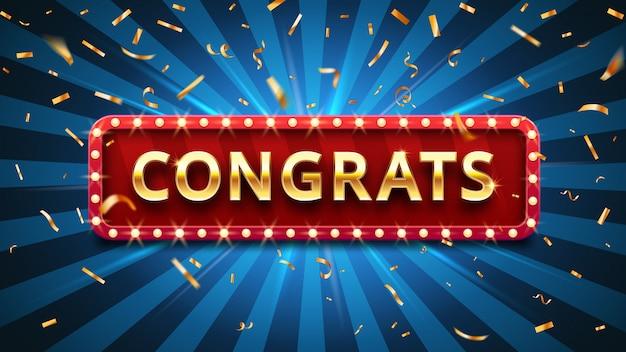 Gewinner glückwünsche, goldenes konfetti und goldenes glückwunschzeichen in rahmenvektorillustration