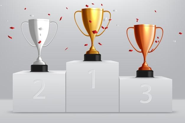 Gewinner hintergrund. gold, silber und bronze trophy cup auf preispodest