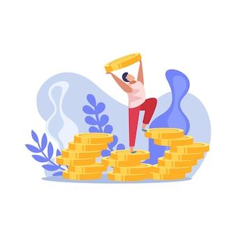 Gewinner-leute-zusammensetzung mit glücklichem mann und haufen von goldmünzen