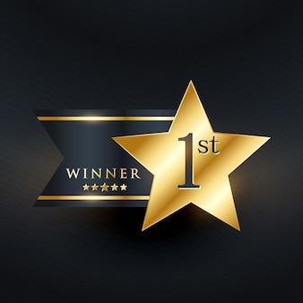Gewinner stern golden label design