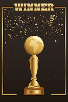 Gewinner trophäe erde planet golden mit konfetti