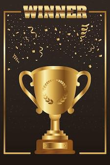 Gewinner trophäenbecher golden mit wortquadratrahmen