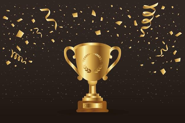 Gewinner trophäenbecher golden und konfetti