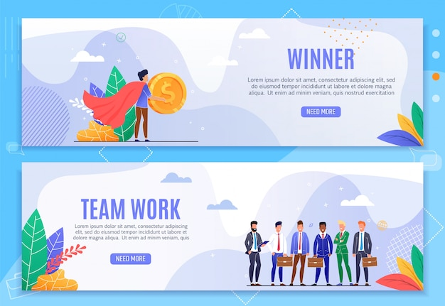 Gewinner und teamarbeit cartoon header banner set