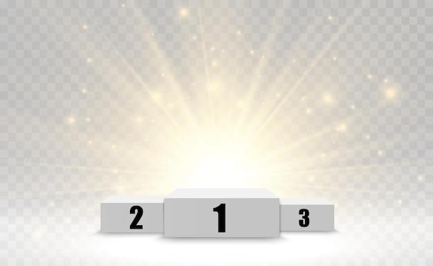 Gewinnerhintergrund mit zeichen des ersten zweiten und dritten platzes auf einem runden sockel vector gewinner