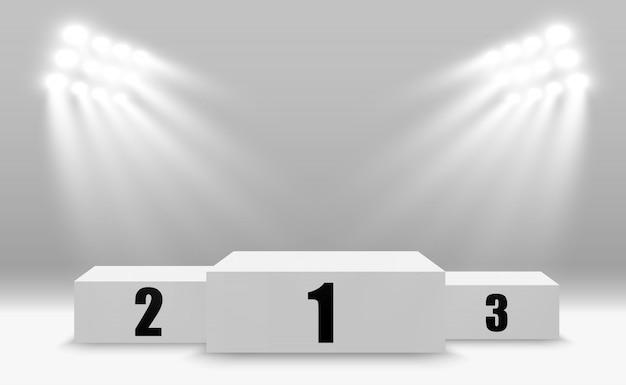 Gewinnerhintergrund mit zeichen des ersten, zweiten und dritten platzes auf einem sockel.