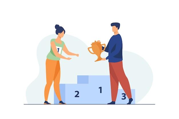 Gewinnerin erhält ersten preis. mann, der goldene tasse zur frau am flachen vektorabbildung des podiums gibt. gewinnen, führung, leistungskonzept