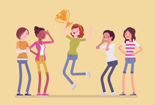 Gewinnerin und neidische freunde. mädchen springen glücklich, um einen preis zu gewinnen, übertrafen alle rivalen im wettbewerb oder im wettbewerb, andere sind eifersüchtig auf ihre leistung. stil cartoon illustration