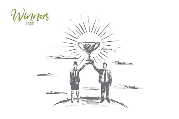 Gewinnerkonzept. hand gezeichneter mann und frau halten einen goldenen trophäenbecher als gewinner in einem wettbewerb hoch. zwei partner gewinnen isolierte illustration.