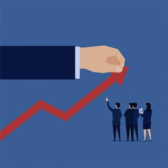Gewinnhandzugdiagramm herauf geschäftsteam analysieren. illustration