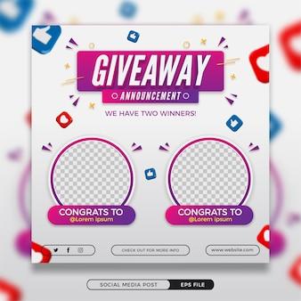 Gewinnspiel-gewinner-ankündigung social-media-post mit 3d-elementen