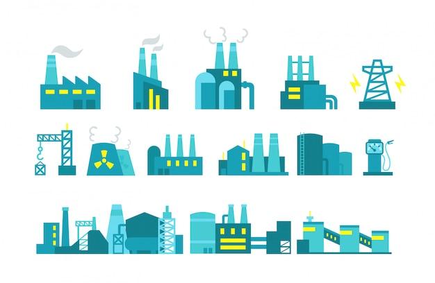 Gewinnung von erdöl. satz der fabrikillustrations-erdölförderung.