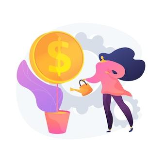 Gewinnwachstum, spendenaktion. geschäftsfrau, die geldbaum wässert. einkommenssteigerung, wachsendes einkommen, kreatives gestaltungselement der idee der wirtschaftskompetenz.