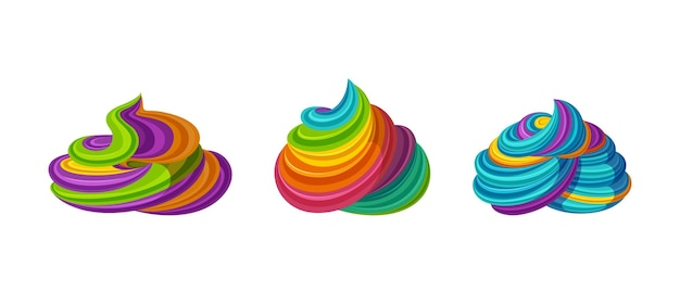 Gewirbelte regenbogenglasur. leckere sahne für torten und cupcakes. vektor-illustration im niedlichen cartoon-stil