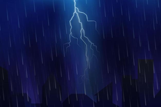 Gewitter oder sturm am nachtvektorhintergrund