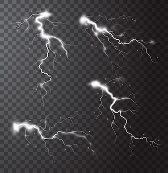 Gewitter realistische elemente eingestellt mit blitzen von blitzen und funken isolierte vektorillustration