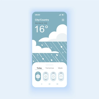 Gewitterwetter-tagesmodus-smartphone-schnittstellenvektorvorlage