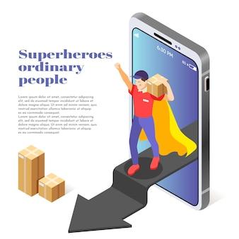 Gewöhnliche leute als isometrische superheldenillustration mit kurierdienstmann, der paket liefert, das smartphone heraus tritt